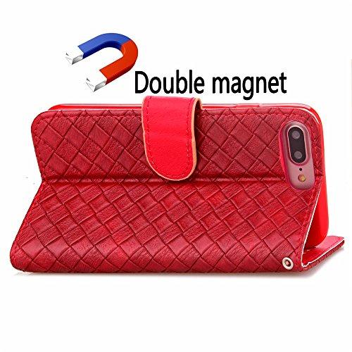 iPhone Case Cover IPhone 7S Plus motif de tissage PU TPU Housse en cuir avec la photo Window Main Strap Carte Cash Slots Stand Case pour iPhone 7 Plus ( Color : Red , Size : IPhone 7 Plus ) Red