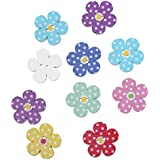 Souarts Mixed Random Flower Shape 2 Holes Wooden Buttons for Sewing Crafting Pack of 100