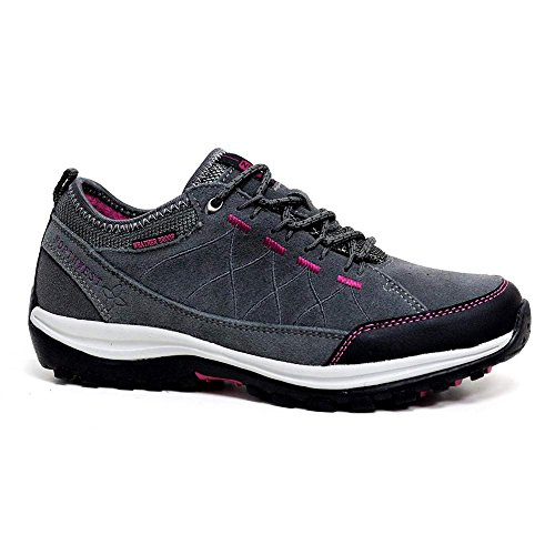 LADIES LEATHER LIGHTWEIGHT WATERPROOF WALKING HIKING TREKKING ANKLE BOOTS SHOES SIZE 3 4 5 6 7 8 (7 UK, Grey Fuchsia)