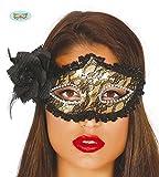Guirca Fiestas GUI12720 - dekorierte goldene Maske mit Rose