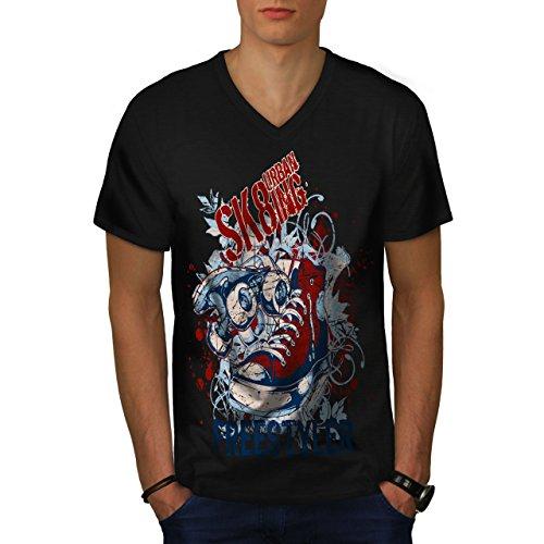 Städtisch Schlittschuhläufer Straße Stadt Skateboard Herren S V-Ausschnitt T-shirt | Wellcoda