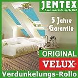 Original VELUX Premium Verdunkelungs-Rollo DKL M08 3011S Dekor Uni Türkis passgenau für GGL GPL GHL GTL M08 oder 308 mit Aluminium Führungsschienen