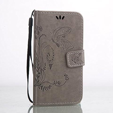 Cozy Hut Custodia portafoglio / wallet / libro in pelle per Huawei Y3 II / Y3 2 Custodia in Pelle Stampata Morbida PU Case Cover - Cover elegante e di alta qualità,Funzione di sostegno Stand,con la copertura del raccoglitore per la Carte - Progettazione fiore e la farfalla sollievo per Huawei Y3 II / Y3 2 -