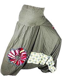 Sarouel Femme Vert kaki Pantalon Ethnique Créateur Aladin Harem Pant 100%  Coton Tissu épais Aladdin 1f1b647cb9d