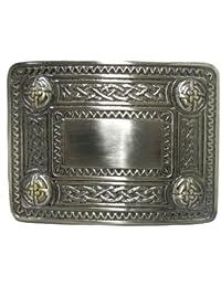 Hebilla de cinturón para kilt escocés - Tachones con diseño celta - Acabado antiguo