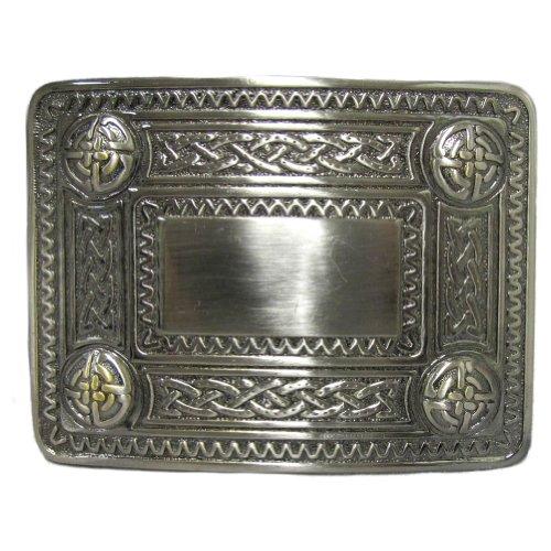 """Hebilla para kilt Hebilla de cinturón para kilt escocés con una diseño de tachones celtas Acabado antiguo Caja de presentación Apta para la mayoría de los cinturones de kilt convencionales. 10 x 7 cm (3,75"""" x 2,75"""")"""