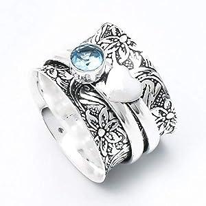 Blauer Topas Ring, massiver 925 Sterling Silber Ring, Herz Design Ring, Spinner Ring, oxidierter Ring, Statement Ring für Frauen