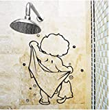 Douche Porte En Verre Autocollants Enfants Baignade Stickers Muraux Mignon Étanche Amovible Pour Bébé Salle De Bains Décor Autocollants Stickers Muraux Art 45X30 Cm