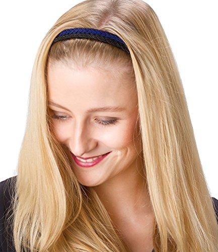 Haarbänder, elastische geflochtene Haar Bänder in dunkel blau und schwarz, Damen Haarschmuck, Stirnband (456-323) (Super Dunkle Sonnenbrille)