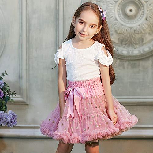 Für Pink Kostüm Lady Kleinkind - Yamyannie Kleinkind Pom Pom Kostüm Kleid Fluffy Tüll Plissee Tutu Rock Prinzessin Ballett Tanzabnutzung Pettiskirt Tiered für Lady Girls (Farbe : Hell-Pink, Größe : 120)