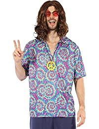 Mens Purple 1960s 1970s Groovy Hippy Hippie Festival Top & Peace Sign Necklace Fancy Dress Costume Outfit