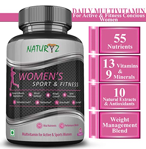 Naturyz Women's Fitness Daily Multivitamin with 55 Vital Nutrients, 12 Performance Blends - 60 Tablets