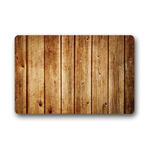 Aeykis Doormat Retro Vertical Stripes Wood Pattern Print Stain Resistant Color Door Mat Rug