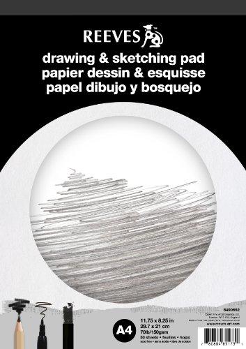 Reeves - Bloc de papel de esbozo y dibujo, A4