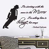 Wandsticker, Michael Jackson, Man in the Mirror-Songtext, für Wohnzimmer, Flur, Schlafzimmer, Vinyl, reguläre Größe