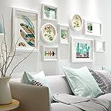 Marco de fotos HJKY conjunto salón minimalista cuadros de pared de madera maciza en la pared sofá cuadro fondo creativa combinación dormitorio pasillo foto pared,Todo blanco