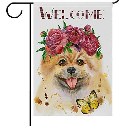 Wamika Welcome Paws Dog Drapeaux de Jardin 12 x 18 Double Face, Funny Puppy Pet Papillon Pivoine Rose Fleurs Jardin Yard extérieur Maison Drapeau Bannière pour fête Décorations d'intérieur 12x18in