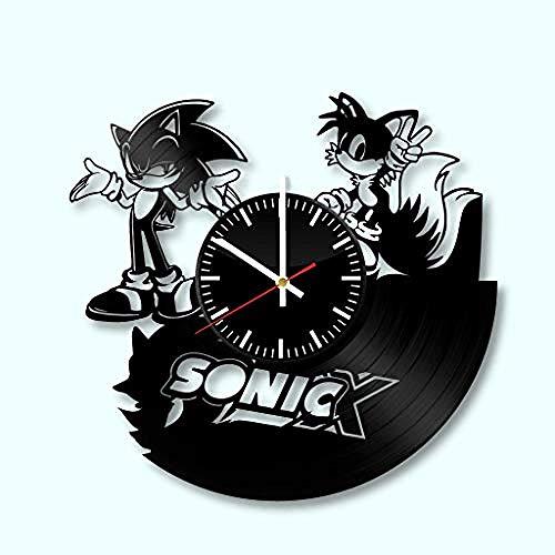 AIYOUBU Vinyl Uhr - Sonic Wall Art Room Decor handgemachte Dekoration Party Supplies Thema - Beste originelle Geschenkidee - Vintage und Moderne Stil-Without_LED