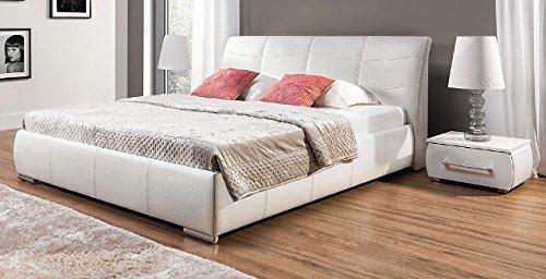 Design Luxus Lounge Polsterbett Doppelbett Futon-Bett Leder Weiß SL03 NEU!