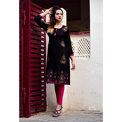 Vihaan Impex Fashion Noir Color Designer Imprimé Kurti