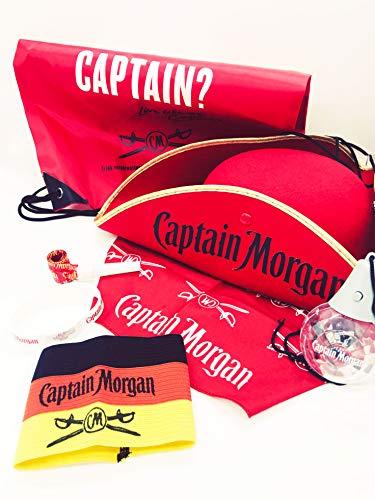Captain Morgan Fan Set - Hut + Sportbag + Bandana + Silkon Armband + Kapitänsband in schwarz,rot,Gold + Tröte + Partykugel (Captain's Hut)