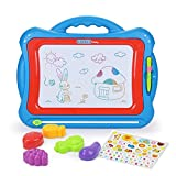 NextX Magnetic Drawing Board Toys for 3 years old kids Megasketcher Doodle Educational Toys gift sets with 5 Shape Stamps and Lovely Sticker