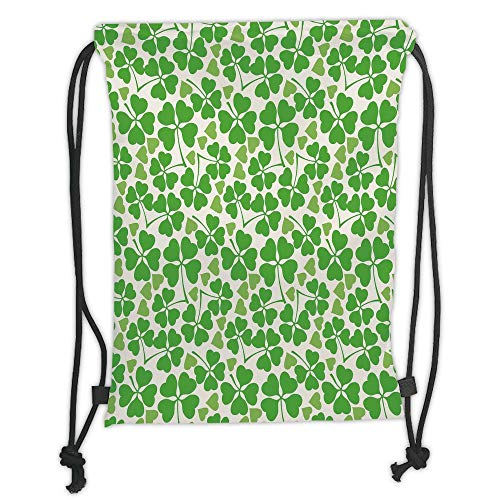 LULUZXOA Gym Bag Printed Drawstring Sack Backpacks Bags,Irish,Gaelic Nature Garden Decor Spring Clovers with Cute Hearts Freshness Decorative,Lime Green Pistachio White Soft Satin (Spring-sport Irish)