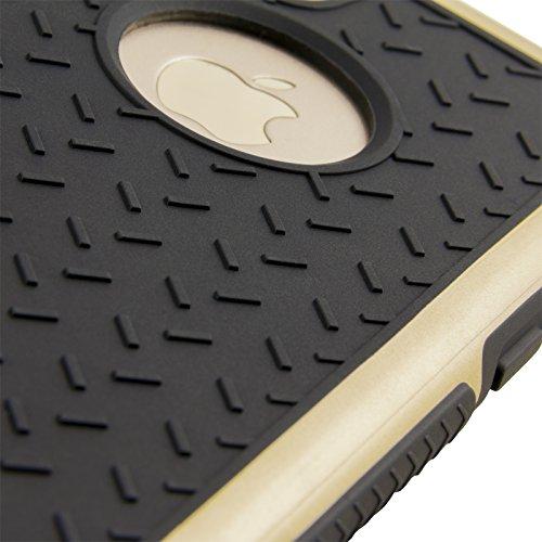 Mobilefox Simon Panzer Schutzhülle mit farbigem Bumper, Safe-Grip Handy Case für Apple iPhone 6/6S Schwarz/Grau - Soft Back Cover Hülle Schwarz/Grau