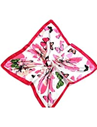 Small Square purple flowers, tulips & insects, butterflies print silk feel ladies fashion neck, head scarf 19