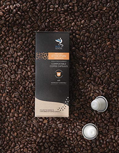Compostable & Plastic Free Nespresso® Compatible Eco Coffee Pods | Single Origin Ethiopian Yirgacheffe Coffee | 40 Biodegradable Coffee Capsules Filled with Speciality Grade Arabica Coffee