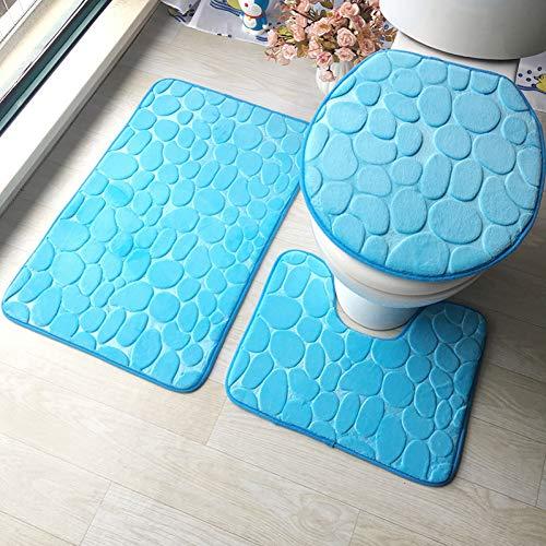 WWDDVH 3D Geprägte Memory Sponge 3 Stücke Badematte Set Absorbent Badezimmer Teppiche Set Anti-Slip Bad Fußmatten Wc Teppiche-Kopfsteinpflaster (Kopfsteinpflaster Bad-teppiche)
