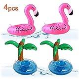 Lezed 4 Stück Aufblasbare Pool Coasters Getränkehalter,Aufblasbares Flaschenhalter,aufblasbare Getränke Halter für Summer Pool Party Deko,Badespielzeug Saft Becherhalter (2 Flamingo+2...