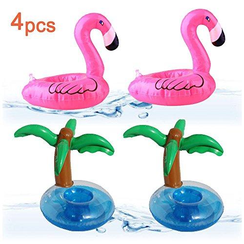 Lezed portabicchieri gonfiabili per piscina da 4 pezzi, porta-bottiglie gonfiabile, porta-bibite gonfiabile per deco party in piscina estiva, portabicchieri per giochi da bagno (2 flamingo + 2 palm)