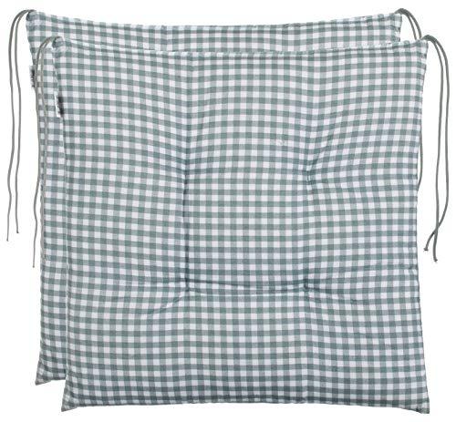 Coussin d'assise Brandsseller à carreaux - Anthracite, gris clair, marron, beige - 40 x 40 cm - Pour le jardin, Coton mélangé, gris, 2er-Paket