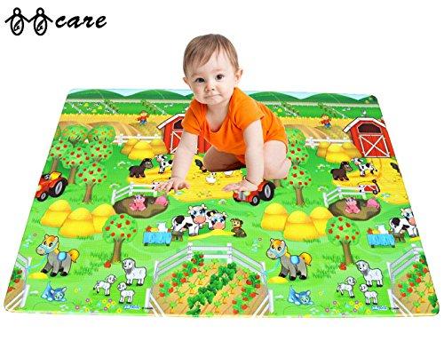 BBCare® Suave Alfombra de Juegos y Gimnasio de Actividades para Bebé -ABC/Granja Feliz (Mediano)