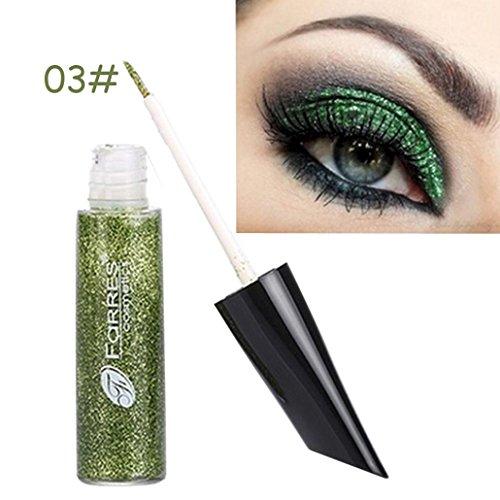 HKFV Augenschimmer-Augenschminkepuder-flüssiger Eyeliner-langlebiger Augenschminke-Make-up Wasserdichte dauerhafte Pailletten Glitzer Lidschatten Eyeliner Liquid Eyeliner (Grün) (Reiches Liquid)