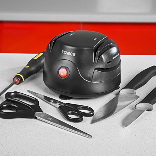 513erMLiYlL. SS500  - Tower Electric Knife, Scissors and Screw Driver Sharpener with Dual Grinding Wheels, 60 W, Black