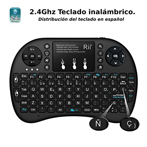 513esWhHrOL - (Novedad 2015, con Luz de fondo) Rii mini i8+ Mini teclado ergonómico con ratón tipo touchpad incorporado. Compatible con SmartTV, Mini PC, Android, PS3, PS4, Xbox, HTPC, PC, Raspberry Pi, Kodi, XBMC, IPTV, MacOS, Linux y Windows XP/7/8/10