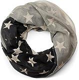 styleBREAKER Loop Schlauchschal mit Sterne Farbverlauf Muster, Schal, Tuch, Damen 01016125, Farbe:Schwarz-Grau-Beige