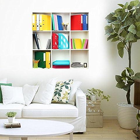SAEJJ-Kreative Simulation 3D Stereo Wand Aufkleber Wandbild Tapete Hintergrund Schlafzimmer dekorieren das Wohnzimmer Sofa simuliert Porzellan Regal Schrank Schuh Gepäckträger die Fenster Sticker grün Farbe #002 , F