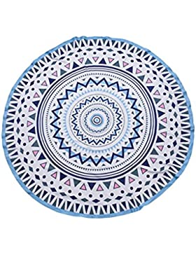 PIECES Toalla Redonda Mandala étnica Playa Azul 1.80 CM