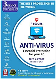 F-Secure Antivirus 3 PC 3 Year (Email Delivery in 2 Hours - No CD)