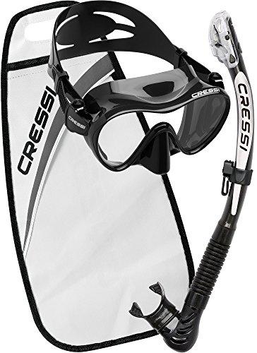 Cressi Erwachsene F1/Alpha Schnorchelset, Schwarz Weiß, One Size
