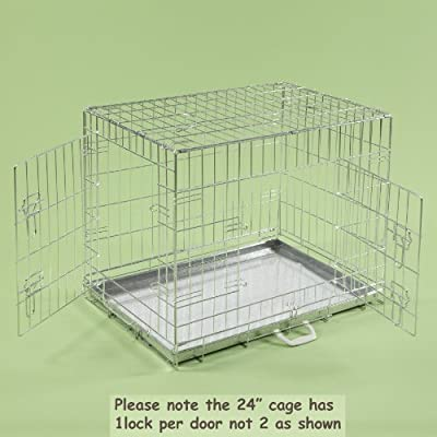 "24"" Dog Cages Puppy Crate Small Silver Cat Folding Metal Cage 24"" x 18"" x 20"""