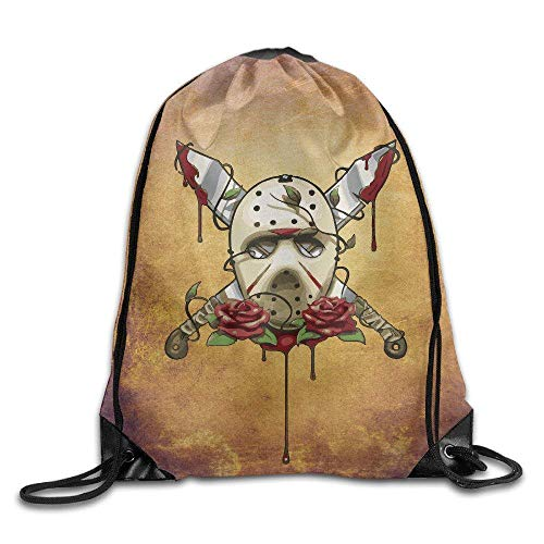 GONIESA Fashion Unisex Gym Bag Drawstring Backpack Bag Jason Voorhees Friday The 13th