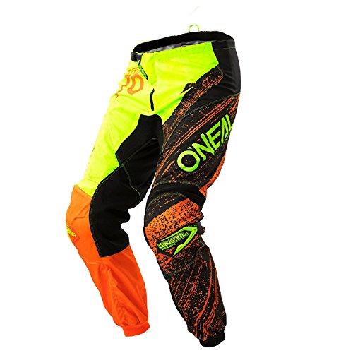 O\'Neal Element Burnout MX Motocross Hose Pant Enduro Offroad Motorrad Quad Cross Erwachsene, 0108, Farbe Hi-Viz Gelb Orange, Größe 32