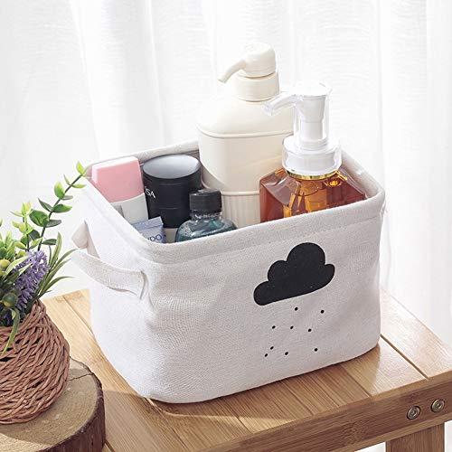 Encounter G Einfache kleine Aufbewahrungsbox Baumwolle und Leinen Faltbare Aufbewahrungsbox Cartoon Spielzeug Aufbewahrungskorb Set von 3 geeignet für Kinderzimmer Büro,White,DarkClouds -