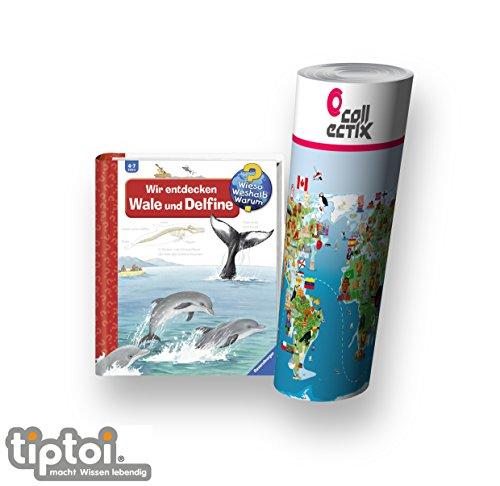 Wieso? Weshalb? Warum? Ravensburger 4-7 Jahre | Wir Entdecken Wale und Delfine + Kinder Tier Weltkarte by Collectix