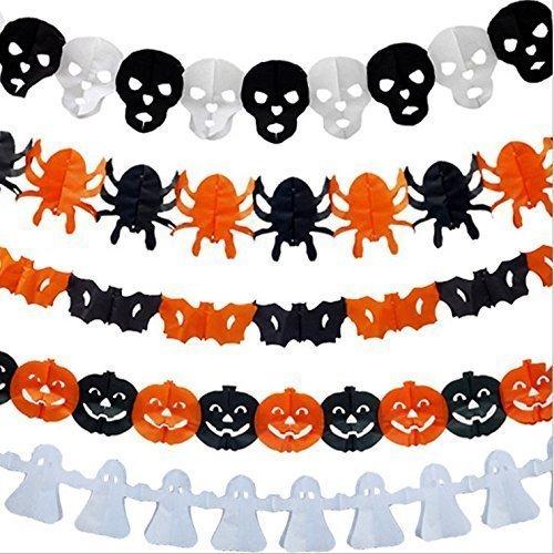 URChic 10Pcs / lot hängende Papierketten-Halloween-Versorgungsmaterial-Geist-Kürbis-Schläger-Schädel-lustige Form-Aufhängerfahne faltbare (Diy Spukhaus Requisiten)