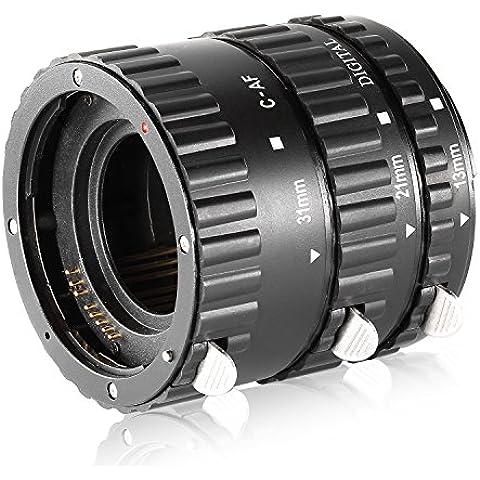 Neewer® Kit di Tubi d'Estensione Macro Auto Focus per Lenti di Canon EOS DSLR SLR, Close-Up Estremo (Nero), Idoneo per Canon EOS 1d, 1ds, Mark II, III, IV, 5D, Mark II, 7D, 10D, 20D, 30D, 40D, 50D, Digital Rebel xt, xti, xs, xsi, t1i, t2i, t4i, t5i 300D, 350D, 400D, 450D, 500D, 550D, 650D, 700D, 1000D (Baionetta in metallo)